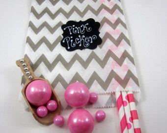 24- 5X7 Gray & White Thin Chevron Bags, Treat Bags, Favors, Candy Buffet, Wedding, Chevron,