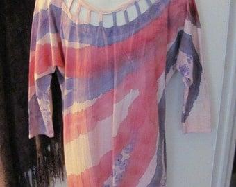 OOAK Barefoot Design Hawaiian Hand Dyed Short Cotton Shift Dress