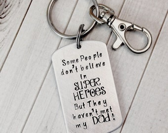 Dad SUPER HEROES Keychain,Dog Tag Keychain,Personalized Keychain,Hand Stamped Keychain,Father's Day Gift