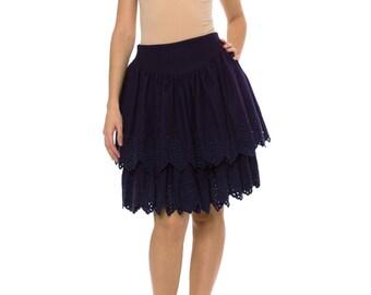 1980s Vintage LOLITA LEMPICKA Two-tier Dark Purple Ruffled Skirtt Size: XS/S