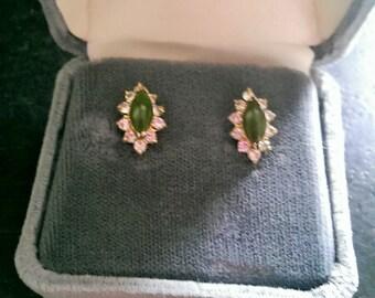 Vintage Jade and Diamond Asian Art Nouveau Stunning Stud Earrings