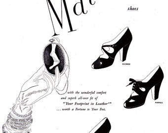 1949 Matrix Fashion Shoes Advertisement Vintage Black & White Haute Couture Ladies' Footwear High Heels Stilettos Pumps Wall Art Print Decor