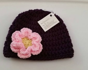 Purple Crocheted Newborn Hat with Attached Pink and Yellow Flower
