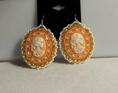 Victorian Skeleton Cameo Beaded French Hook Earrings - Ready to Ship!