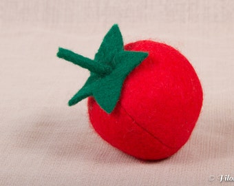 Pretty felt tomato to play the dinette - felt food toy - Filomenn