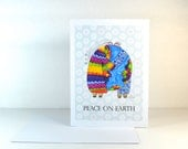 """DIY Christmas Cards """"Peace on Earth"""" Instant Download / Blue Yellow Rainbow / Design Couple Hugs the World / Print at Home Digital File"""