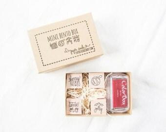 Christmas Bento Box - Christmas Stamp Set - Hand lettered and hand drawn set of mini stamps for christmas - ready to ship