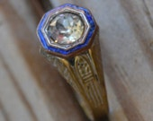 Beautiful antique victorian edwardian brass mens ring with white diamond paste and filigree engraving with blue enamel