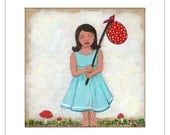 "Girl Print of Whimsical Painting, "" Away with the Fairies"" , Art for Girls"