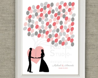 Wedding Guest Book Alternative - bride and groom silhouette. Printable file - Coral and grey