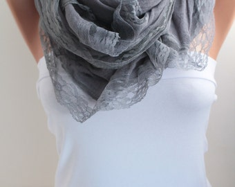 Mid Grey Scarf  Long Scarf Oversized Lace Scarf Fall Winter Scarf  Shawl Wrap Fashion Women Accessories Christmas Gift