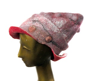 Womans Felt Hat with Brim - Funky Mod Newsboy's Cap - 1960s Fantasy Burning Man Hat Wearable Art - Pink Purple Red Wet Felted