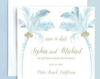 Beach Wedding Save the Date, Palm Tree Save the Date, Ocean Save the Date, Watercolor Wedding Save the Date, Watercolor Save the Date, Palm