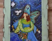 Original 7 x 9 Earth Angel- Distressed & Painted Wood-Print Inspirational-Child's Decor-Nursery- Safari-Guardian Angel-Home Decor