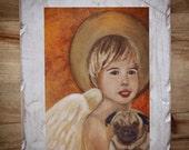 Original 7 x 9 Boy Angel-Pug Dog Distressed & Painted Wood-Print - Home Decor- Chalk Paint-Dog lover-Angel-Boy's Room-Guardian Angel-Angelic