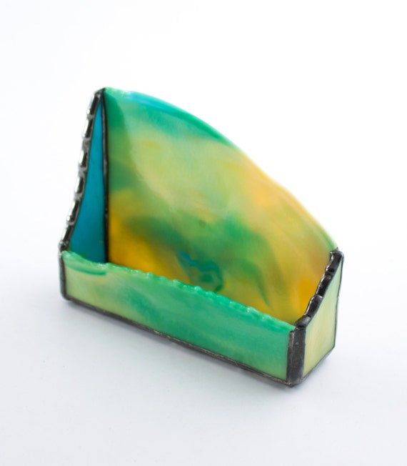 Unique desktop business card holder yellow green stained for Unusual business card holders