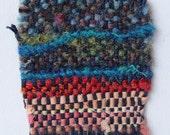 Handmade textile card, hand weaving, rich colours, greetings card, blank card