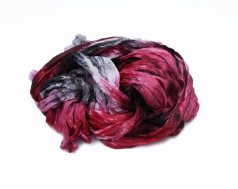 red silk scarf - Passion Fume -  red, grey, black silk ruffled scarf.