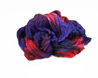 silk scarf - Front Row  -  purple, red, purple -blue silk scarf.