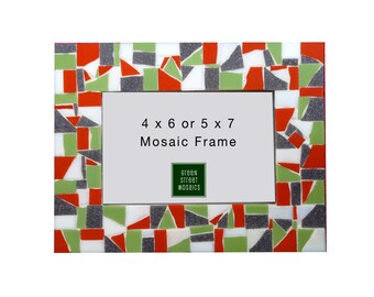 Mosaic Picture Frame - Lime Green, Orange, Gray, White -  Colorful Home Decor