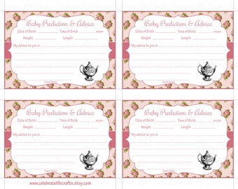 tea advice cards  etsy, Baby shower invitation