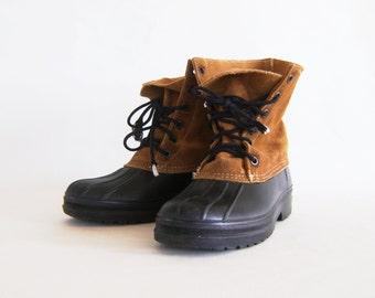 Vintage Rain Boots Rubber And Suede Short Rain Boots