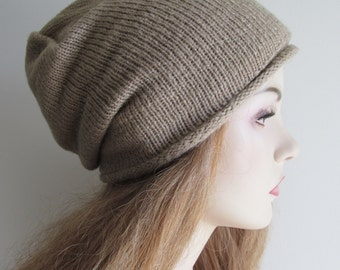 Slouchy Beanie Slouch Hipster Hats Oversized Baggy Taupe Beige Knit Men Women