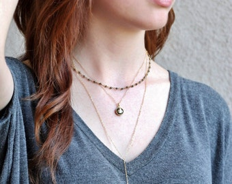 Dainty Bar Lariat • Vertical Drop Bar Necklace • Simple Y Necklace • Sterling • Rose Gold • Gold • Geometric • Layering Necklace • Minimal