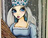Original painting the Winter Princess, acrylic on gesso wood panel, ready to hang SHIPPING INCLUDED, beautiful gift ideas