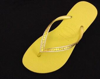 Custom Havaianas flat Slim flip flops Yellow Neon Citrine w/ Swarovski Crystal Rhinestone US 9/10 Brazil 39/40 Sophisticate Jewel Beach Shoe