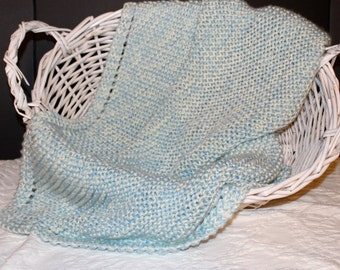 Soft Blue and Cream Knit Baby Blanket