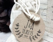 10 Linen / Fabric Wedding Favour Bag with Personalised Tag - Shabby Chic, Rustic Favor Bag - LAUREL