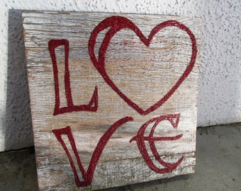Love Shabby Chic Maroon Reclaimed Wood Art. Reclaimed Wood Art, Rustic Decor, Beach Decor, Valentine's Day Decor ~Ready to Ship!~