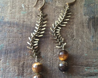 Tiger's Eye & Brass Fishbone Chain Dangle Earrings