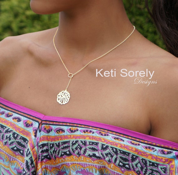 10K, 14K, 18K or Sterling Silver Lariat Monogram Necklace - Y Necklace - Script Initials Pendant - Yellow, Rose or White Gold