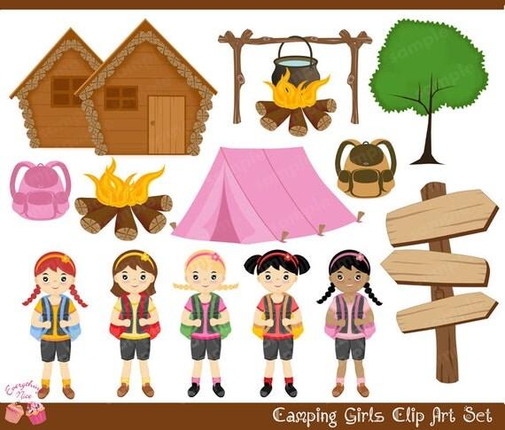 camping girls clip art set