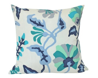 Alan Campbell Potalla Outdoor Pillow Cover with Blue, Teal and Turquoise Quadrille Fabric