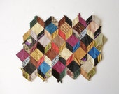 Antique Quilt Top Fragment Tumbling Blocks Pattern, Antique Fabric Swatches, Paper Pieced Quilt Top Fragment