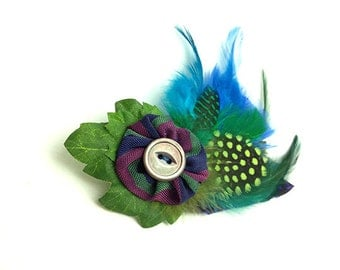 Blue green feathers Brooch clip Antique carved shell button polka dots
