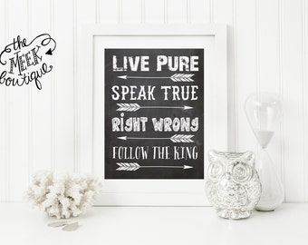 INSTANT DOWNLOAD, Rules, Live Pure, Speak True, Right Wrong, Follow the King, No. 371