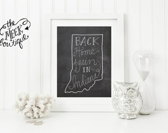 INSTANT DOWNLOAD, Back Home Again in Indiana Printable, No. 189