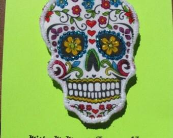 Day of the Dead Sugar Skull Brooch Fiber Art Pin Dia de los Muertos