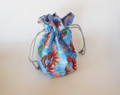 Drawstring Makeup Bag - Blue Design w/ Flowers - Japanese Fabric - Asian Fabric - Makeup Pouch - Cosmetic Bag - Adorable Little Jewelry Bag