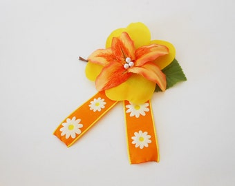 Colorful Flower Accessory - Bobby Pin Base - Fabric Flower Hair Piece - Gold flowers with Orange Ribbon - Handmade Flower Accessory