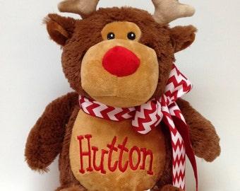 Personalized Stuffed Animal Christmas Reindeer