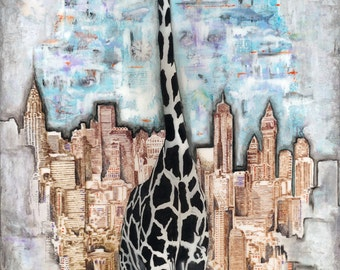 "Giraffe in the City, 13"" x 19"" Signed Art Print by Jamie Rice"