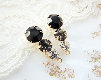 Swarovski Preciosa Jet Black, Black Diamond & Clear Crystal Triple Teardrop Rhinestone Drops 23mm Setting Finish Choice - 2