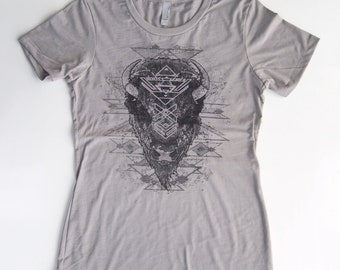 Buffalo Spirit Portrait - Tribal Winter - Many tone Screenprint in Black Grayscale on a Stone Gray Cotton Tshirt