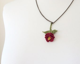 Red Rose Crochet Necklace, Oya Beaded Charm Necklace, Chain Statement Collar, Crochet Jewelry, Christmas Necklace, Women's Gift, ReddApple