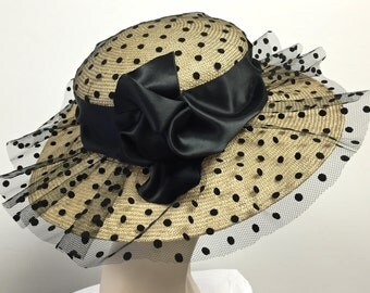 Kentucky Derby Hat Polka Dot HAT Natural Straw Summer Womens Hat Summer Straw Black Hat